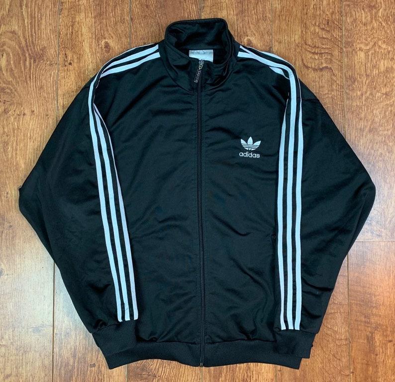 98f8c3093f360 Vintage Adidas Originals Tracksuit Track Top Black Soft Shell Medium M Men's