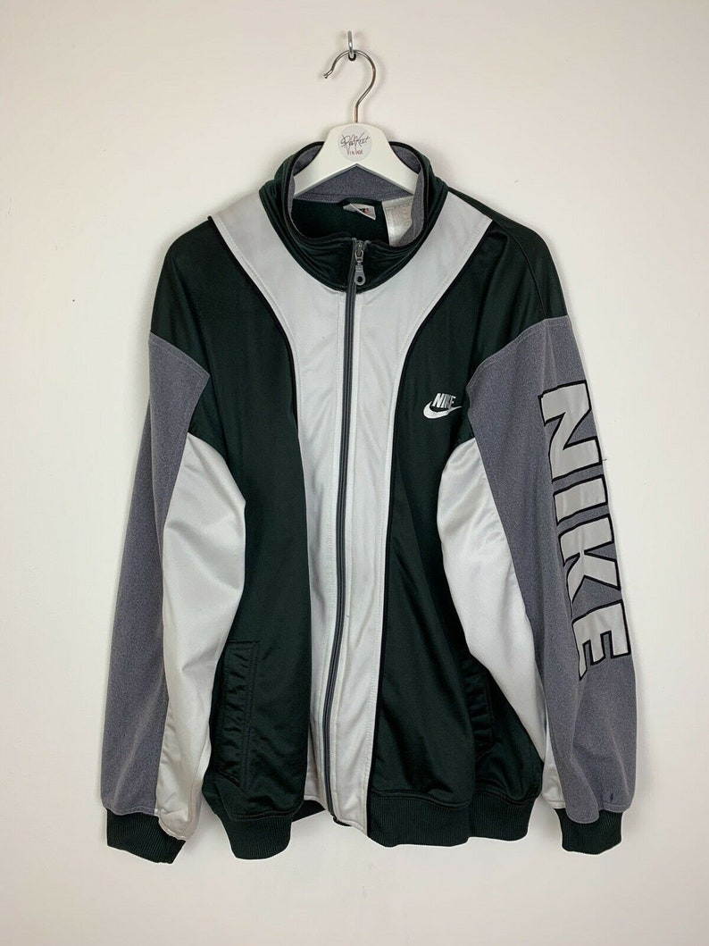 48c97e11e9958 Men's Vintage 90s Nike Track Jacket Soft-Shell Green Grey White UK Size XL