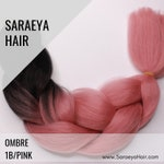 2 Tone Ombré - 1B/Rose Pink Ombre Colors Braiding Hair (Single Packs) - 24 in.