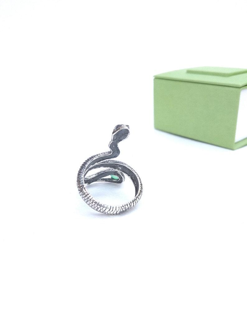 Snake ring Chrysoprase ring Snake Gifts Full finger ring