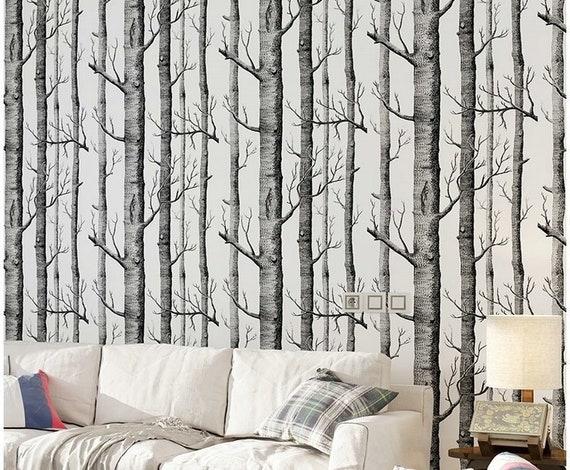 Birch Tree Wallpaper Black And White Birch Tree Design Wall Etsy