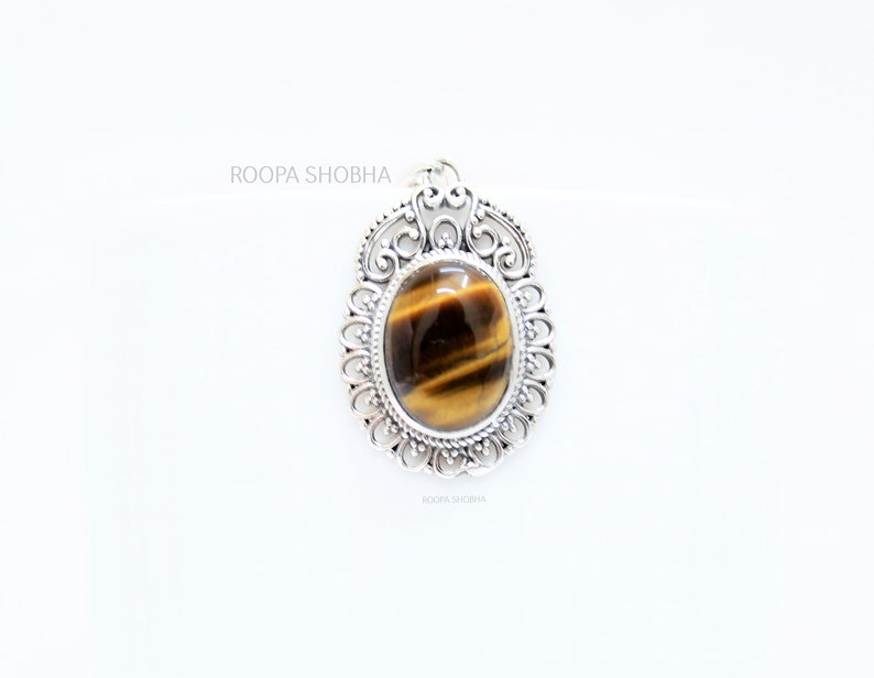 TIGER Pendant 925 Sterling silver pendant,TIGER EYE gemstone,handmade design,boho pendant jewelry