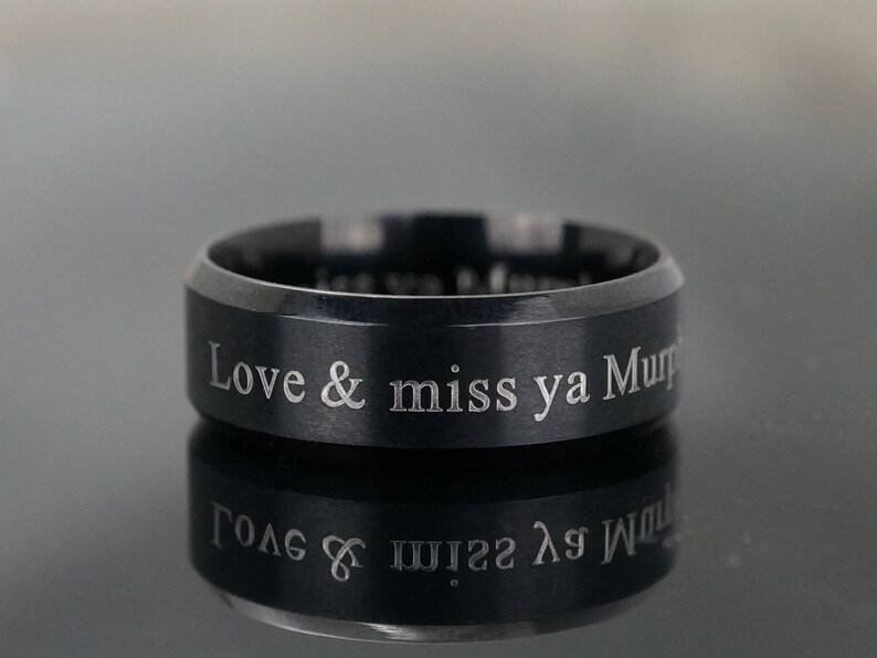 Stainless Steel Ring Promise Rings for Men Groomsmen Gift Black IP Beveled Edge Band Custom Mens Ring Engraved Wedding Ring for Him