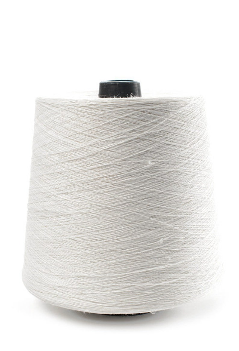 100 linen yarn, 500g ( 17 6oz ) cones, white color dyed flax thread, single  or twisted, Lithuanian linen