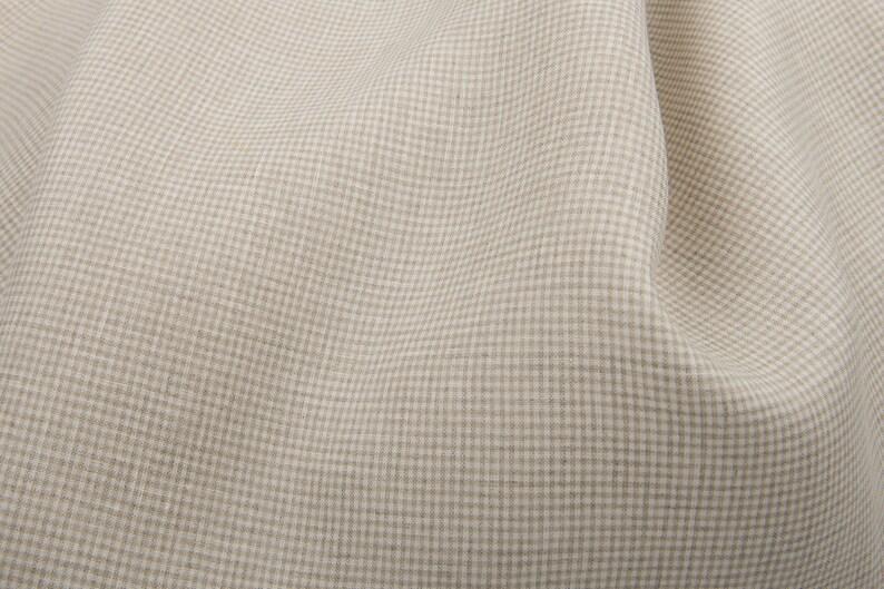 Jacquard fabric Linen greenish grey fabric | by Siulas washed Weight 150g  m Width 140cm 4.42oz  yd irregular check pattern