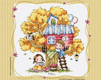 Treehouse of Fall  - Soda Stitch Counted Cross Stitch Pattern