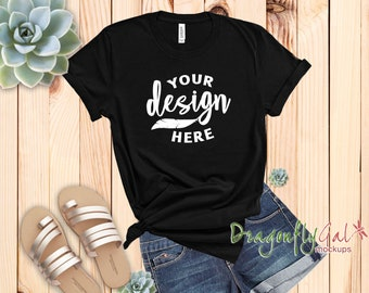 Download Free Bella Canvas Black Unisex Tee Mockup, Women Youth College Styled T-Shirt Mock Up, Succulent Design PSD Template