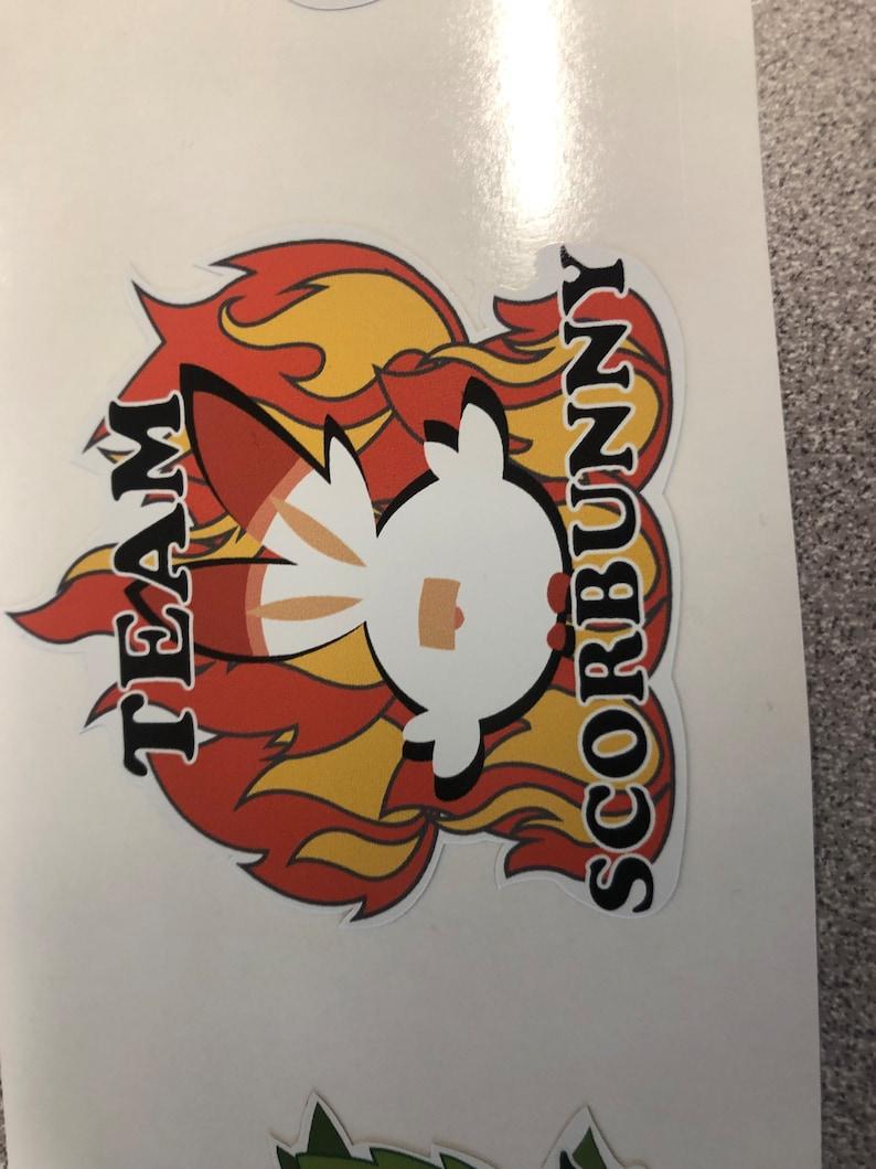Fan made Pok\u00e9mon Sword and Shield Team Scorbunny stickers
