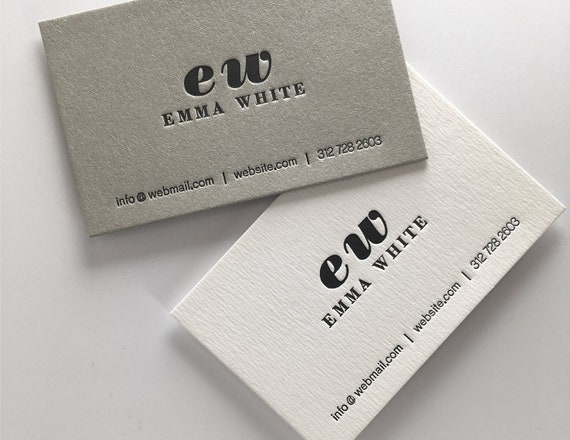 Letterpress Business Cards Biglietti Da Visita Visitenkarten Carte De Visite Sample Name Emma