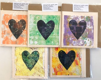 2x 15x15cm handprinted gelli printed monoprint greetings love friendship get well cards unique piece of art with envelopes