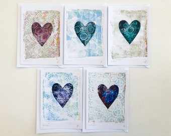 1x C6 handmade gelli printed monoprint greetings cards unique piece of art A5 with envelope greetings love friendship get well cards