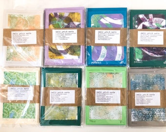 4x A6 handprinted handmade GELLI PRINT monoprint greetings cards unique piece of art with envelopes C6