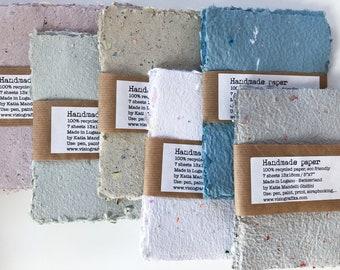 HANDMADE PAPER, lot of 7 pieces 13x18cm grey-reddish recycled paper, eco friendly paper, art paper unique paper, deckled edges paper