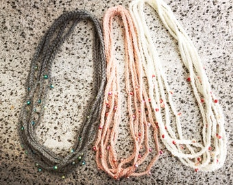 Acrylic crochet beads necklace HAPPY style unique piece