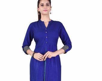 7d1b7ed57fc Indian 100% Cotton Women's Long Dress Ethnic Casual Solid Royal Blue Color  Tunic Frock Suit Plus Size