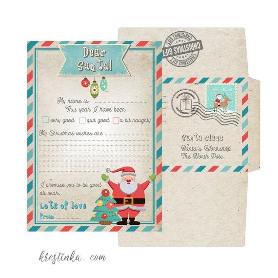 Brief An Den Weihnachtsmann Mit Umschlag Vorlage Lieber Etsy