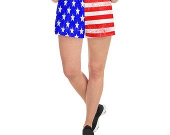 e1fb91fa8a4d3 USA American Flag Women s Athletic Running Short Shorts - Patriotic Gift  Idea for Mom