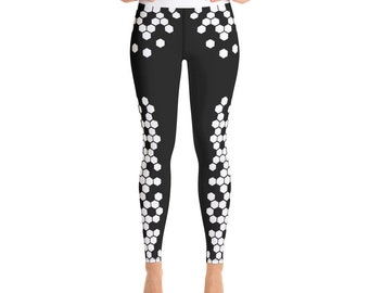3a7ae14be63f96 Cute AF Hexagon Scale Pattern Yoga Pants - Black and White Yoga Leggings -  Running, Workout and Gym Weightlifting Pants