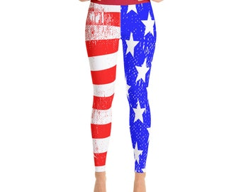 b4cb6d2854ff3 USA American Flag Yoga Pants - Workout and Weightlifting Leggings with  Inside Pocket - Red White and Blue Patriotic