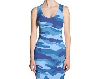3c278be090 Women's Camouflage Dress - Sexy Blue Camo Women's Dress - Sublimation Cut &  Sew Dress