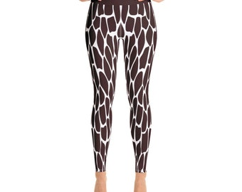 819d7bb864252 Cute Giraffe Print Yoga Leggings - Women's and Teen's Giraffe Skin Pattern  Yoga, Exercise, and Running Pants with pocket