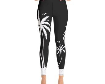 2e5107a62336f Cute Tropical Beach Palm Tree Yoga Pants - Black and White Sandy Beach Yoga  Leggings with Inside Pocket