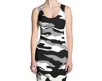 567e9d4858e Women s Camouflage Dress - Sexy Black and White Camo Women s Dress - Sublimation  Cut   Sew Dress
