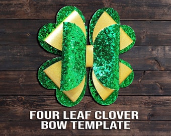 Shamrock Four Leaf Clover Bow SVG - St. Patrick's Day Hair Clip Template svg/PNG/Dxf/Jpeg/pdf St Patty's Day Vector File, DIY Crafts