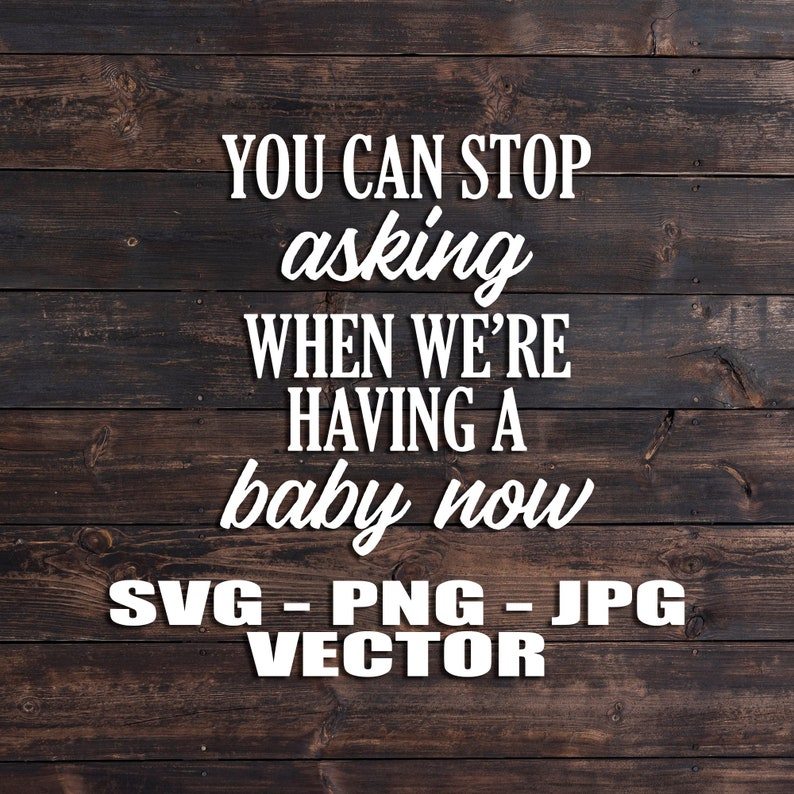 You Can Stop Asking When We're Having a Baby Now Vector image 0