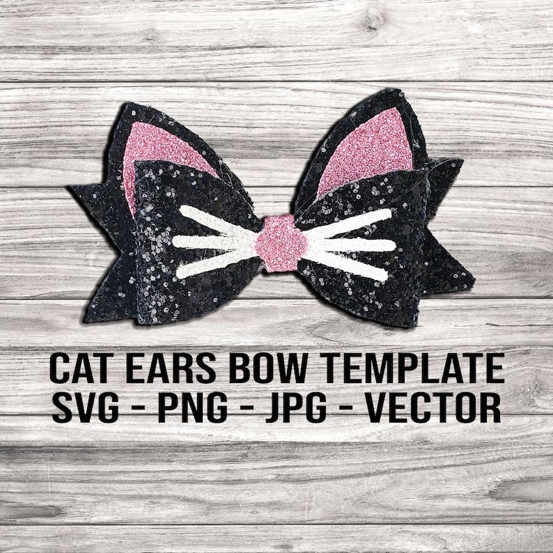 Cat Ears Hair Bow SVG  Kitten Bow Hair Clip Template image 0