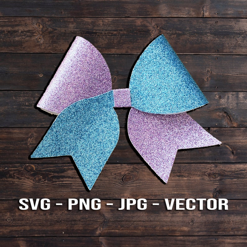 Bicolor Cheer Bow SVG   Two-Color Cheerleader Hair Bow image 0