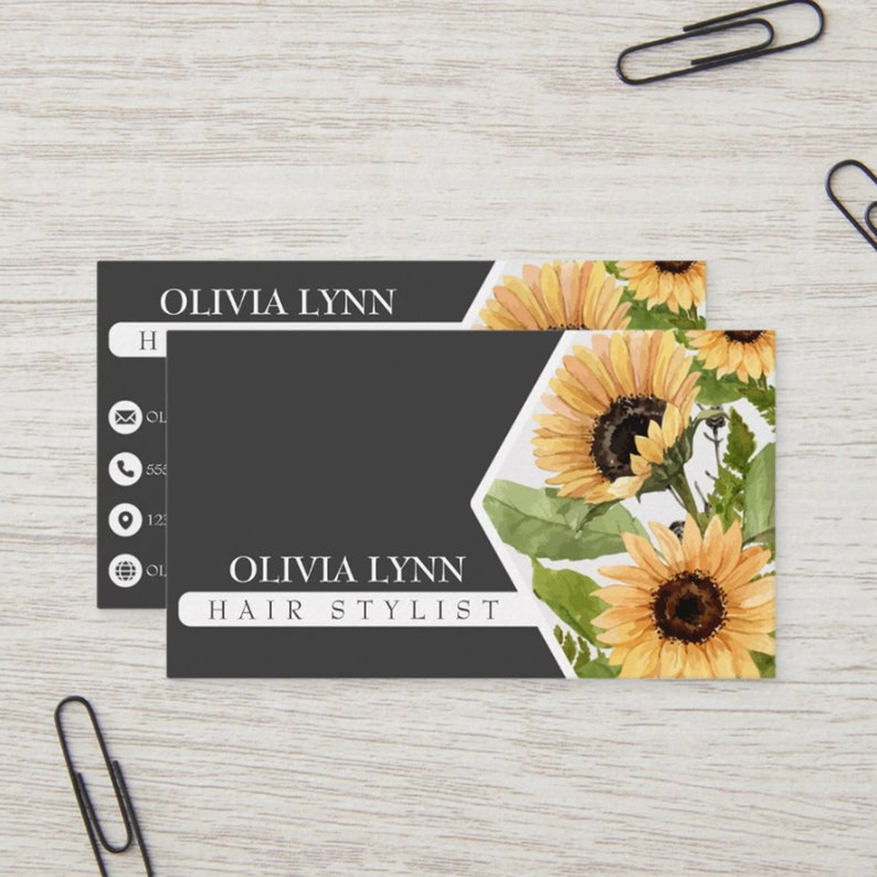 Elegant Two-Toned Sunflower and Red Floral Business Card image 0