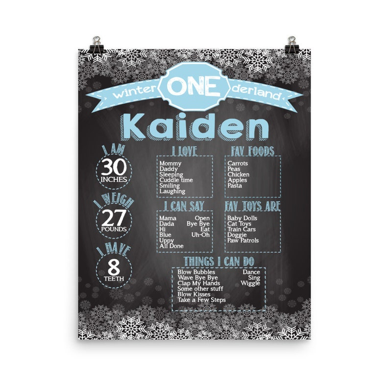 Personalized 1st Birthday Party Poster  First birthday Boys image 0