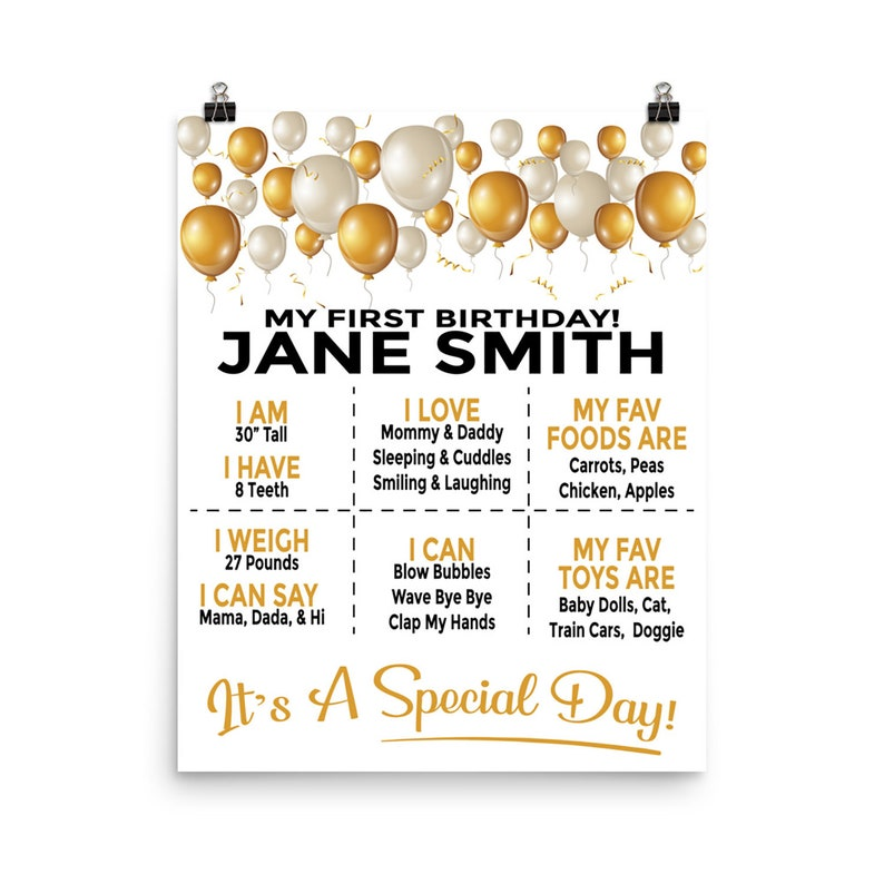 Personalized 1st Year Birthday Party Poster Decorations  image 0