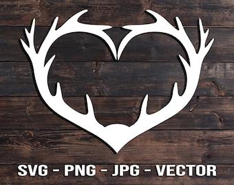 Heart Deer Antler - Country Decor - Car Vinyl - Sign & Screen print Shirt Vector Template SVG/PNG/jpg/dxf diy for Hunters