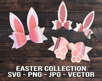 Easter Bunny Hair Bow Bundle SVG Vector Template Download