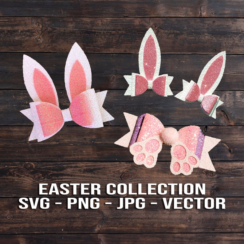 Easter Bow SVG Collection  Bunny Bow Template Vector Pack  image 0