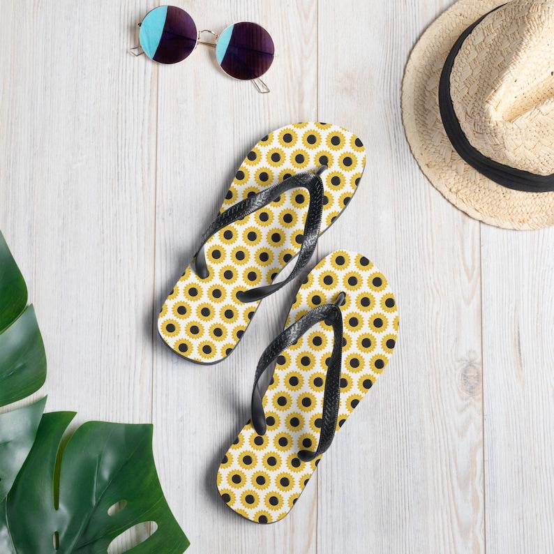 Sunflower Pattern Print Flip-Flops  Summer Vacation Sandals image 0