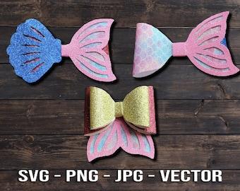 Mermaid Tail Hair Bow Bundle SVG Vector Templates