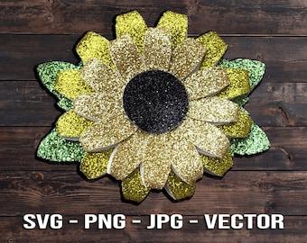 Sunflower Flower Hair Bow SVG - Can also be a Summer Daisy or Christmas Poinsettia Template