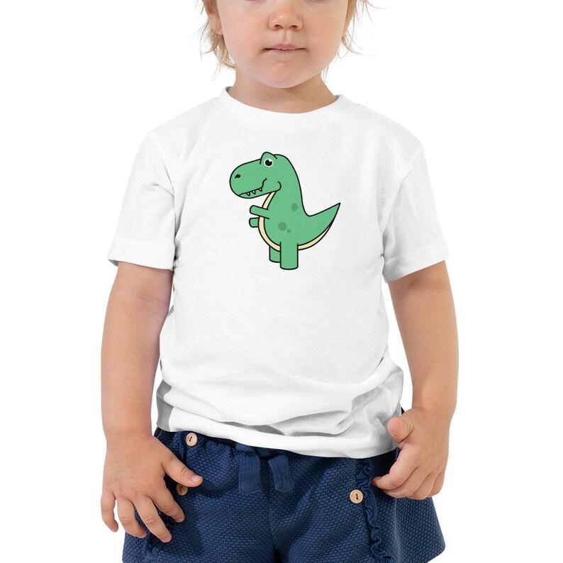 T-Rex Dinosaur cartoon kids t-shirt  Green Dino birthday gift image 0