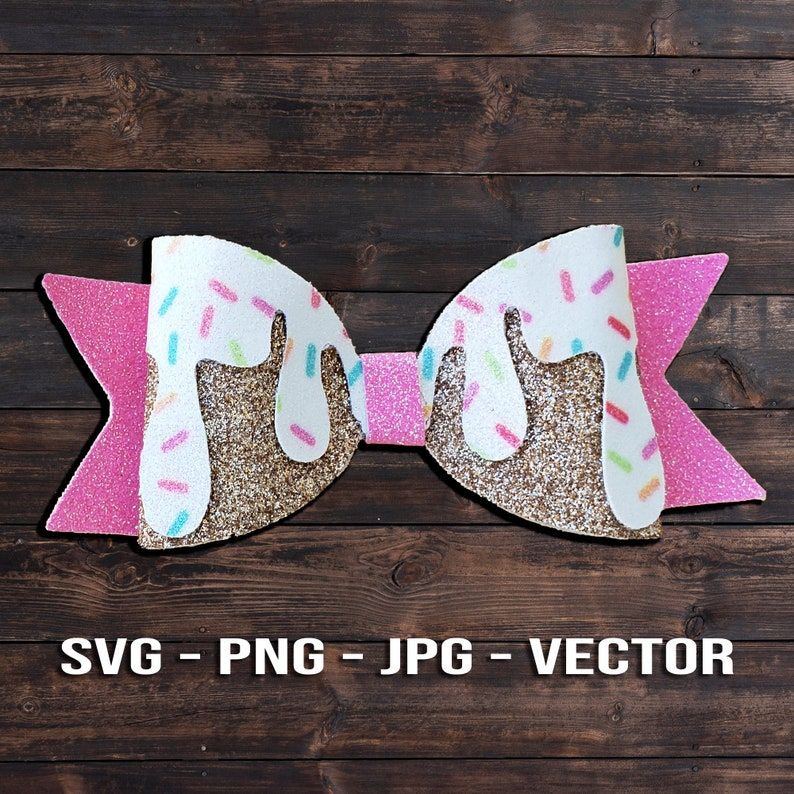 Melting Ice Cream Bow SVG or Donut Icing Hair Bow Template image 0