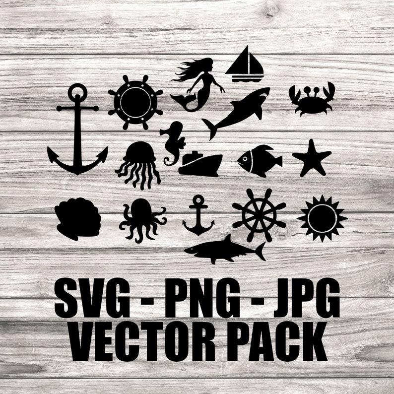 Nautical Vector Pack SVG  Ocean Vectors  Template SVG/PNG image 0