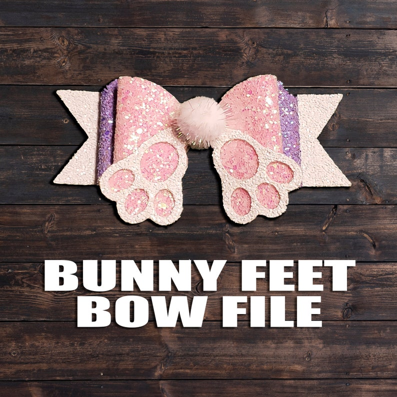 Easter Bunny Feet SVG   Bunny Butt Hair Bow Template Vector  image 0