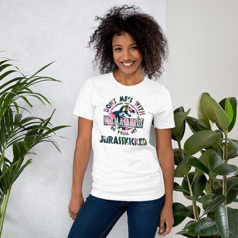 Don't Mess With Mamasaurus Tee  Hawaiian Flower image 0