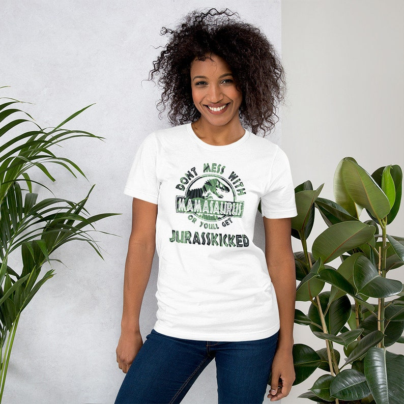Don't Mess With Mamasaurus Tee  Tropical Palm Leaves image 0