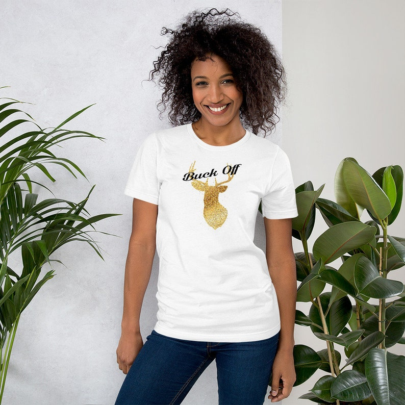 Buck Off Deer Hear Women's Tee Shirt Gift  Faux Glitter image 0