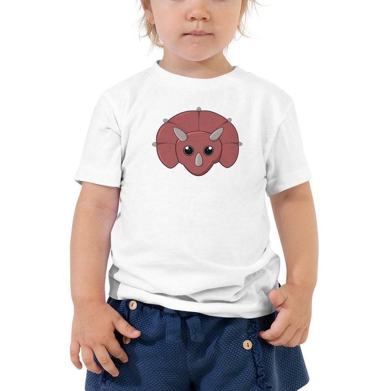 Triceratops Dinosaur Kids T-shirt  Cute Red Dino Toddler image 0