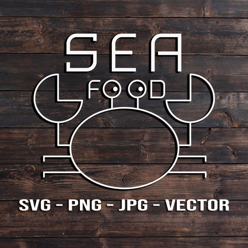 Sea Food  Funny Crab Kitchen Sign Vector Template image 0
