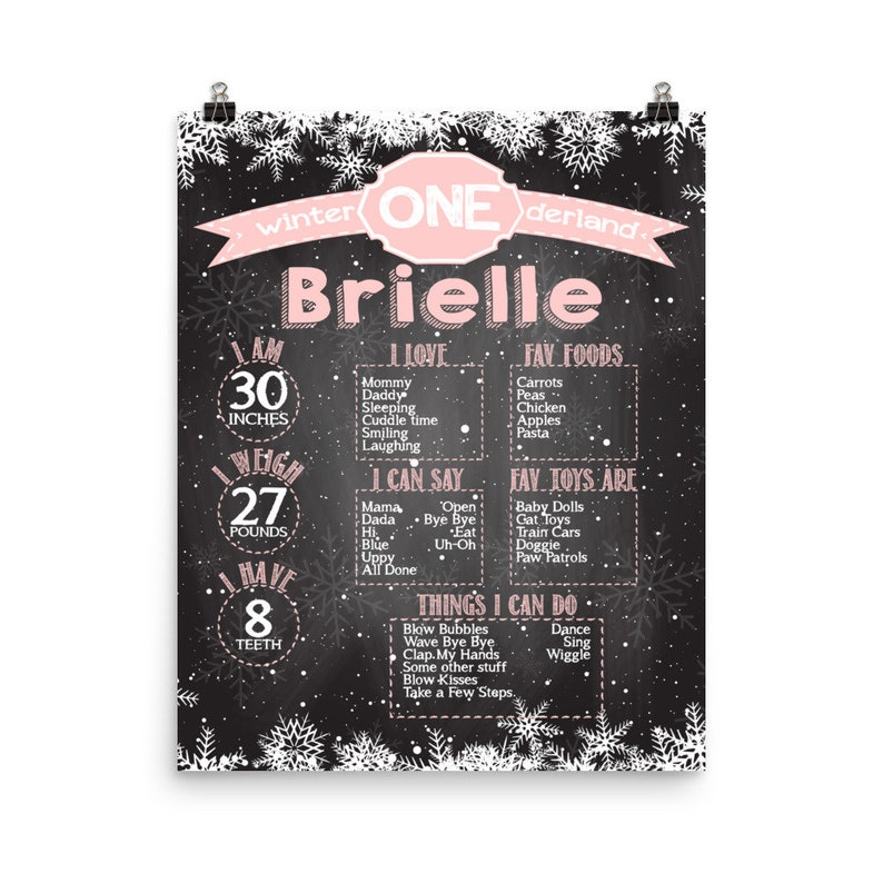 Personalized 1st Birthday Party Poster  First birthday Girls image 0